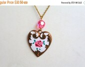 MOVING SALE Half Off Beautiful Vintage  Hand Painted  Roses on Brass Heart signed Piddly Links Necklace