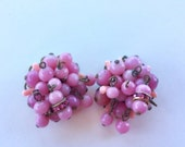 MOVING SALE Half Off Vintage shabby Chic Pink Glass Dangle Cluster Bob Earrings