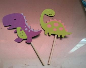 12 girl dinosaur cupcake toppers,purple cupcake toppers, pink cupcake toppers, first birthday, baby shower