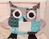 "ON SALE Stuffed Owl 9"" x 9"" Pillow"