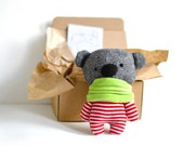 "Little teddy bear in a krapft paper box 16 cm / 6.3"" tall stuffed animal bear softie soft toy plushie handmade toy grey white red stripes"