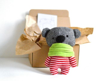 "Little teddy bear in a krapft paper box 16 cm / 6.3"" tall stuffed animal bear softie soft toy plushie handmade toy grey white red stripes"