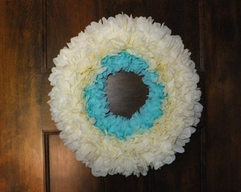 Ivory & Bright Blue or Turquoise Peony Flower Wreath