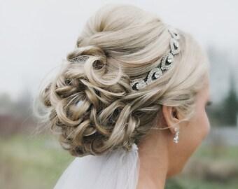 ON SALE Bridal Hair Piece, Bridal, ELSIE, Rhinestone Headband, Bridal Hair, Bridal Headband, Bridal Headpiece, Rhinestone