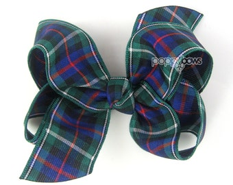 Plaid Hair Bow - school uniform hair bows - school uniform bow - back to school hair bow - tartan hair bow - navy blue hair bow - red green