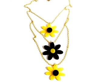 Colorful DAISY DREAM Multi-Strand Necklace with Yellow Chains // Layered necklace // Summer