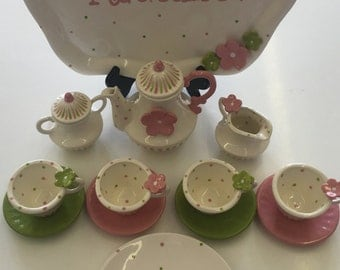 Pink&Lime Petals  Childs Tea Set