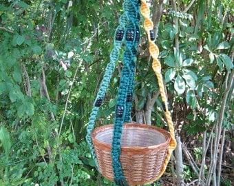 Sage/Forest/Sunshine 35 1/2 Inch Beads Macrame Plant Hanger