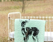 blue Standing Fawn - baby/toddler quilt, with optional 100% linen ruffle crib skirt