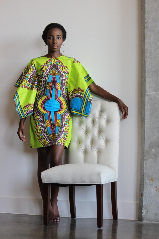 African clothing African Ankara Dashiki Dress African Orange