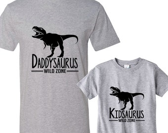 Daddysaurus - Littlesaurus Heather Shirts Daddy and Me Shirt Set