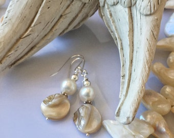 Beige Cream Mother of Pearl Freshwater Pearl .925 Sterlingy Silver Earrings