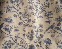 Vintage 1976 Laura Ashley Fabric. 2 Yards plus. Birds. Blue and Cream. Cotton