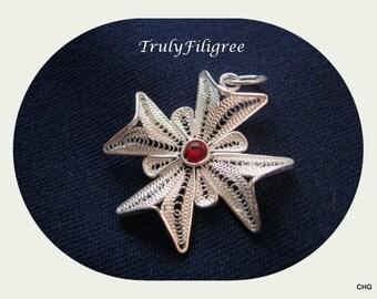 Handmade Sterling Silver Filigree Maltese Cross Pendant / Red Swarovski Rhinestone