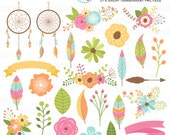Flowers & Feathers Clipart Set - dreamcatchers, flowers, floral clip art, wedding - personal use, small commercial use, instant download