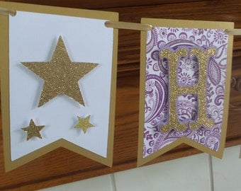 Twinkle Twinkle little star purple and gold birthday banner, pennant gold and purple birthday banner, 1st birthday banner, gold stars banner