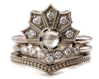 Moonstone and Diamond Fan Engagement Ring Set - Diamond and Millgrain Chevron Bands - Wedding Ring Set