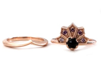 Onyx and Purple Diamond Fan Engagement Ring with Chevron Nesting Wedding Band - 14k Pink Gold