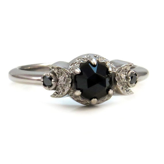14k Palladium White Gold Small Crescent Moon Engagement Ring with Rose Cut Black Spinel Or Rose Cut Black Diamond