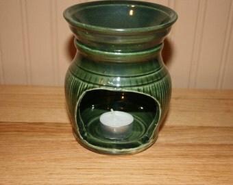 Pottery tart warmer, scent warmer, green warmer, wax melt