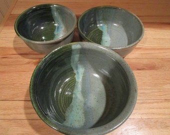 Three-bowl set, serving bowls, entertaining, pottery bowls, handmade pottery