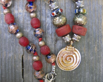 AFRICAN TRADE BEAD necklace silver spiral pendant on leather cord