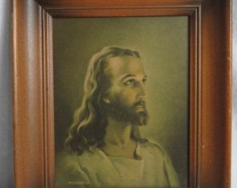 Vintage Jesus Print 1941 Warner Sallman Kriebel Bates Wood Picture FRAMED  Box W