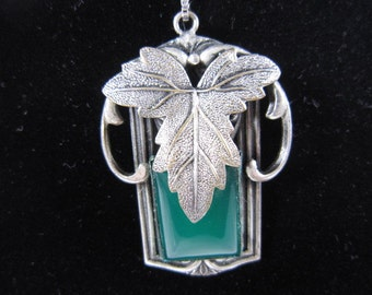 Art Deco Silver Floral Necklace & Green Stone