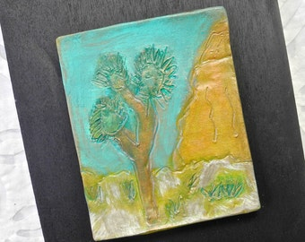 Desert Art, Ceramic Art Tile, Joshua Tree Art, Turquoise, Pottery Art, Ceramic Wall Art, California Landscape, Porcelain Art, mixed media