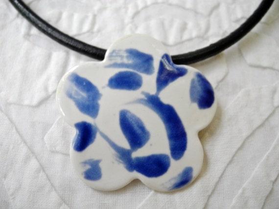 Blue and white porcelain pendant, flower pendant, Flower Necklace, porcelain pendant, bridesmaid gift, stamped ceramic pendant