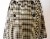 Vintage PECK & PECK Brown/Gray/Black/White Plaid A-Line Wrap Skirt--Size 8