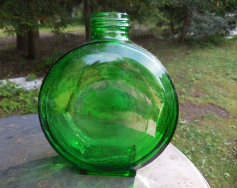 Vintage 1930s Green Round Bottle Sunsweet Prune Juice Art Deco One Quart No Lid Embossed Bottom Illinois Glass Co.