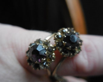 Vintage 1940s to 1960s Double Amethyst/Rhinestone Ring by Uncas Jewelry 1/20 12kt G.F. Small Size 5
