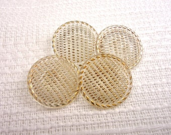 """Brightly Textured: 3/4"""" (19mm) Clear Glass Buttons with Bright Gold Luster Accents - Set of 4 Vintage Fancy Buttons"""