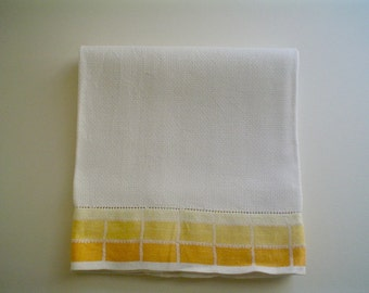 Vintage Linen Damask Towel Yellow Border Large Huck Weave Bath Towel