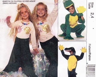 McCalls 7852 Childs Frog, Alligator, Mermaid Costume Sz's 2-4 Uncut Pattern