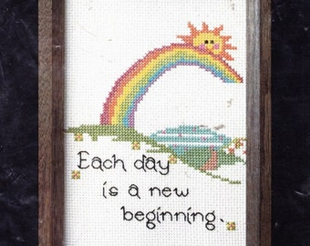 """Counted Cross Stitch Kit,""""Each Day is a New Beginning"""" NMI  Unused"""