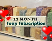 12-Month Soap Subscription - Receive TWO or THREE SOAPS Monthly For 12 Months - Send as Gift - Handmade Soap - Valentines Day Gifts