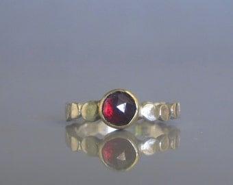 Garnet ring, Garnet stacking ring, Pebble ring, Gold and silver ring