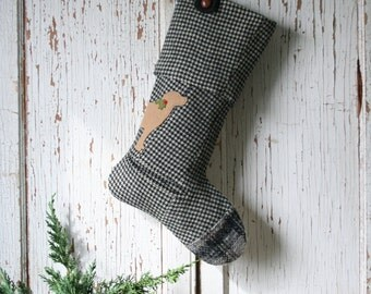 LABRADOR Dog, Hounds Tooth Christmas Stocking - Silhouette, Black and White