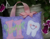 Tooth Fairy Pillow for Girls Personalized Boutique Custom Made Purple Pink