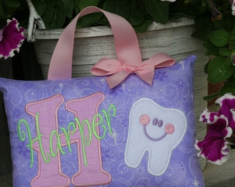 Tooth Fairy Pillow for Girls Personalized Boutique Custom Made Purple Pink Glitter