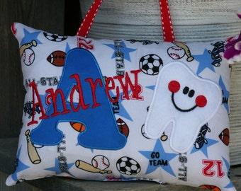 Tooth Fairy Pillow - Boys - Personalized - Sports - Baseball - Basketball - Hockey - Football - Keepsake - Birthday Gift - Soccer