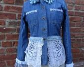 Boho Jean Jacket,Women's Jean Jacket,Romantic Jacket,Shabby Chic Jacket,by Nine Muses Of Crete