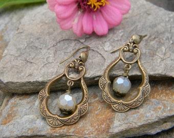Dangle earrings handmade beaded earrings romantic drop hoop earrings beaded jewelry unique gift for her