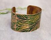 Zentangle Bracelet Copper Etched Cuff Bracelet Handmade Copper Jewelry.
