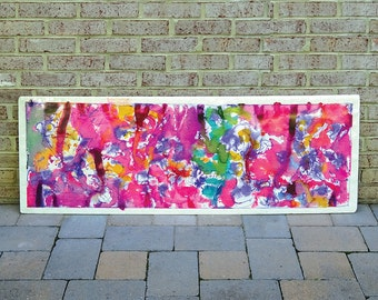 Vintage 1994 Large Abstract Painting of Transparent Inks by listed artist Jesse Soifer