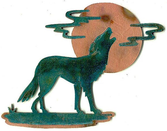 """CopperCutts Wolf with Moon and Clouds 6.5"""" x 9"""" Wall Plaque"""