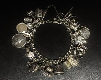 """Vintage (24) Charm Sterling Silver Bracelet 7"""" Long"""