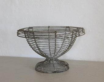French Vintage Wirework Urn, Wire Basket. Rustic Metal Basket.  French Country Decor. Hand Made
